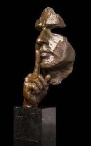 Brass Silent Man Face Statue