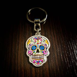 Calavera Customized Metal Keychain