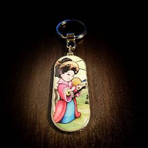 Panoramic Geisha Customized Metal Keychain