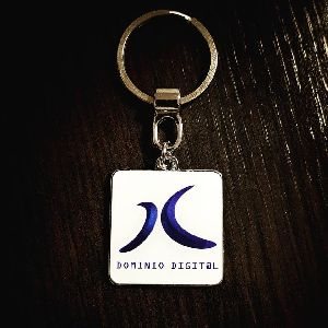 Square Printed Customized Metal Keychain