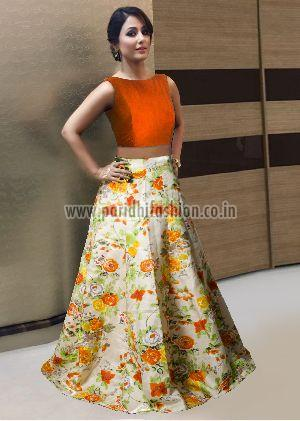 L-28 Avadh Orange Lehenga
