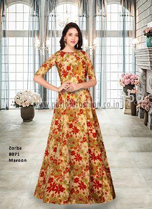 8071 Zorba Maroon Gown