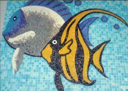 Fish Design Glass Mosaic Tile