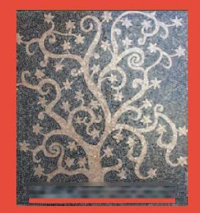 Hand Cut Golden Tree Glass Mosaic Tile