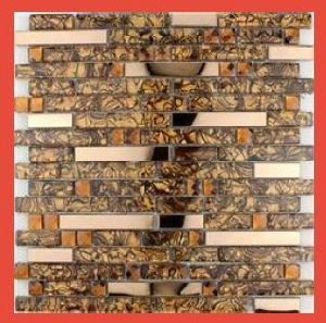 Light Brown Glass Mosaic Tile