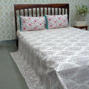Big Patti Huckleberry Block Printed QUEEN SIZE Kantha