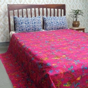 Bird Pink Hand Embroidered Screen Printed Kantha Quilt