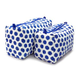 Blue Dotty Quilted Cosmetic Bag