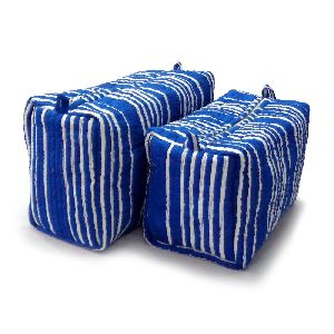 Blue Stripe Quilted Cosmetic Bag