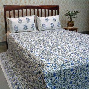 Cotton Block Printed Percale Queen Size Bedspread