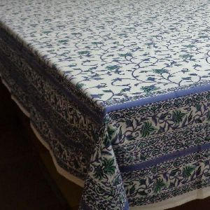 Cotton Hand Printed Floral Bale Tablecloth