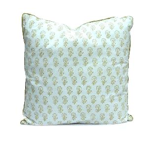 Golden Brown Flower Buti Block Printed Cushion Cover
