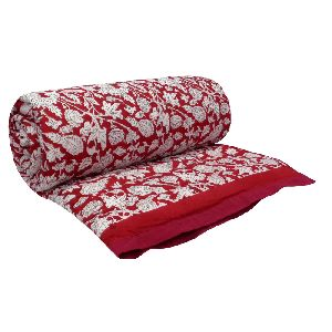 Hand Block amarnath red Printed Patchwork Twin Size Quilt