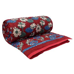 Hand Block lotus rio red Printed Patchwork Twin Size Quilt