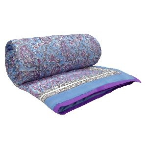 Hand Block paisley pastel lilac Printed Patchwork Twin Size Quilt