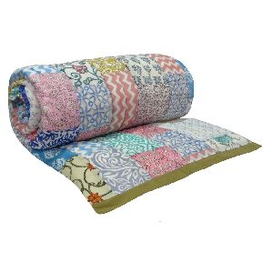 Hand Block Printed Patchwork Twin Size Quilt