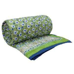 Handmade Anemone Green Block Printed Twin Size Cotton Quilt