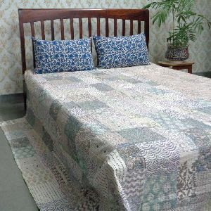 Kantha Cotton Twin Size Patchwork Quilt