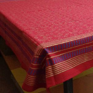 Khadi technique print Gold on Red Cotton Tablecloth
