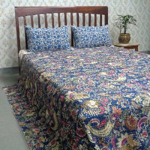 Mukut Blue Hand Embroidered Screen Printed Kantha Quilt