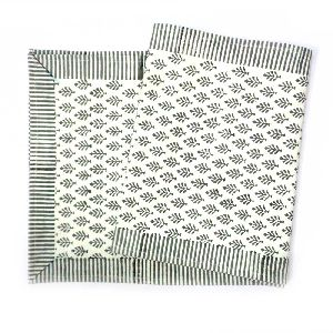Neem Grey Salli Cotton Canvas Hand Block Printed Table Runner
