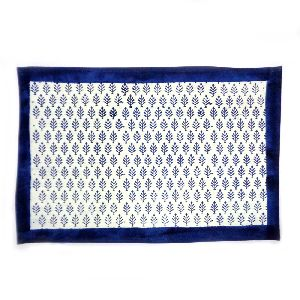Neem True Blue Hand Block Printed Cotton Canvas Tablemat