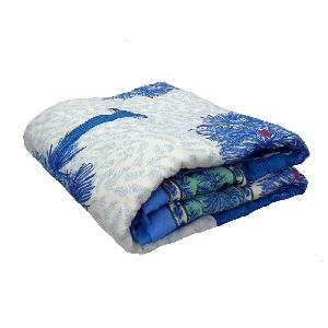 Palmeto Blue Printed Cotton Baby Quilt