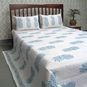 Pineapple Aqua Printed Queen Size Quilted Bedspread