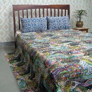 Queen Size Paisley Cotton Kantha