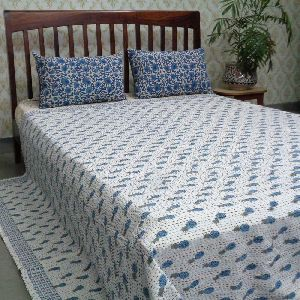 Queen Size Slanting Pineapple Blue Cotton Kantha