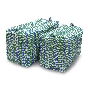 Tri Blue Green Quilted Cosmetic Bag