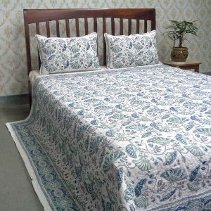 Waterlily Jade Queen Size Quilted Bedspread