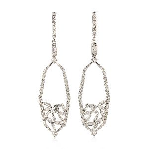 18k gold baguette diamond dangle earrings