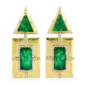 18k Yellow Gold Green Jade Dangle Earrings