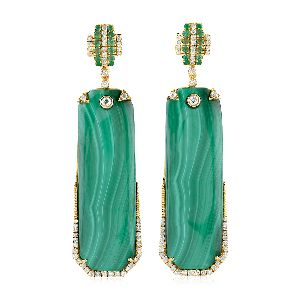 18k yellow gold malachite dangle earrings