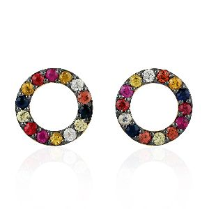 18kt gold multi sapphire gemstone round design stud earrings