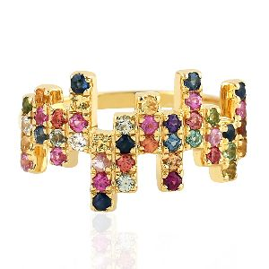 18kt yellow gold multi sapphire ring