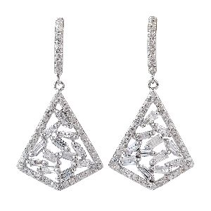 baguette diamond dangle earrings