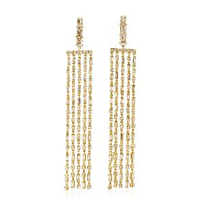 designer gold baguette diamond chandelier earrings
