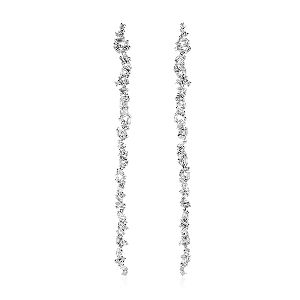 designer gold baguette diamond drop earrings