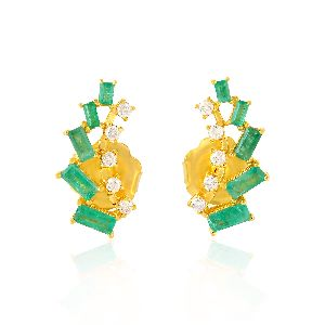 designer gold baguette emerald stud earrings