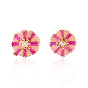 designer rose gold baguette ruby stud earrings