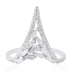 designer white gold baguette diamond cocktail ring