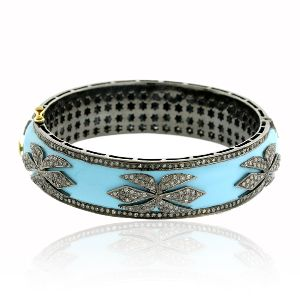 Enamel Silver Bangle