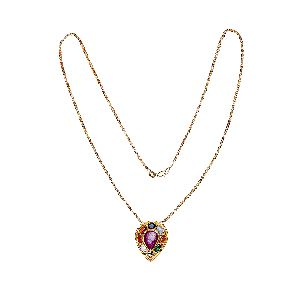 solid yellow gold multi gemstone pear shaped pendant necklace