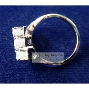 white cube rough diamond 925 sterling silver ring