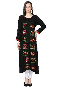 Embroidered A-line Rayon Black Kurti