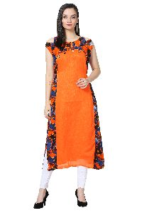 Button Design Off Shoulder Chanderi Orange Kurti