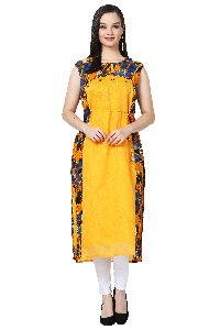 Button Design Off Shoulder Chanderi Yellow Kurti