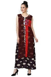 Button Work  Designer Brown Kurti